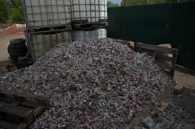 Plastic bottle caps. Current stock for testing and experimenting of the pyrolysis equipment.